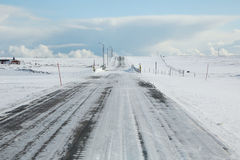 Frosty road in northern Norway Stock Photos