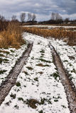 Frosty roadtrack on Funen, Denmark Royalty Free Stock Images