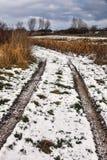 Frosty roadtrack on Funen, Denmark Royalty Free Stock Images