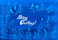 Frosty snowflakes frame christmas watercolor. Blue handmade background Royalty Free Stock Photography