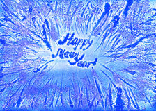 Frosty snowflakes frame new year watercolor. Blue handmade background Stock Image