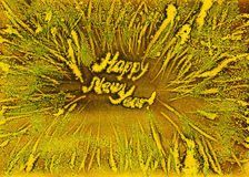 Frosty snowflakes gold frame new year watercolor. Handmade background Stock Photo