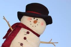 Frosty the SNowman. A stuffed snowman against the sky royalty free stock photos