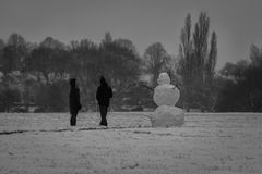 Frosty The Snowman an Braunstone-Park Lizenzfreie Stockfotos