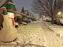 Frosty the snowman in Chicago. A snowy shot in a Chicago neighborhood stock photography