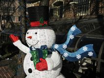 Frosty the Snowman. Photo of frosty the snowman decoration outdoors Stock Photography