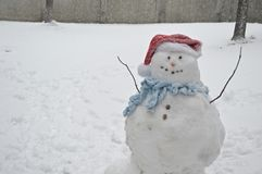 Frosty the Snowman. Real snowman in the snow royalty free stock images