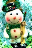 Frosty snowman skis. Frosty snowman decoration with skis and scarf stock image