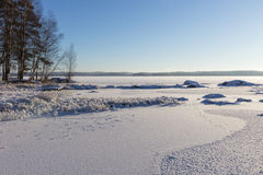 Frosty and snowy Lake Pyhäjärvi in Tampere, Finland in winter Royalty Free Stock Photo