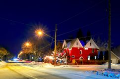 Frosty, snowy night before Christmas in a small town Royalty Free Stock Photo