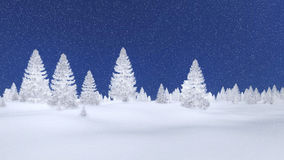 Frosty spruce forest and night sky. White silhouettes of frosty fir trees against dark blue night sky with snowfall. Decorative 3D illustration was done from my Stock Photo