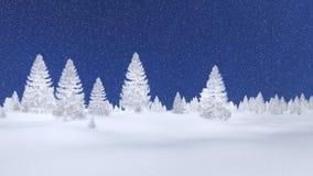 Frosty spruce forest and night sky Stock Photo