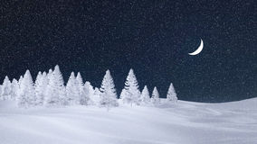 Frosty spruce forest at snowfall night with moon. Decorative winter scenery with white silhouettes of frosty fir trees at snowfall night with a half moon. 3D Stock Photography