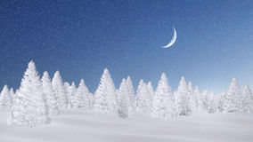 Frosty spruce forest at snowfall night. Winter spruce forest completely covered with snow at magical snowfall night with half moon. Decorative 3D illustration Royalty Free Stock Photo