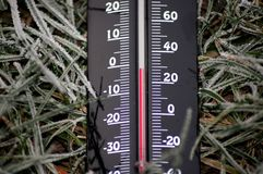 Frosty temperatures thermometers below zero stock images