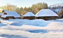 Frosty sunny morning. Winter snowfall Stock Photo