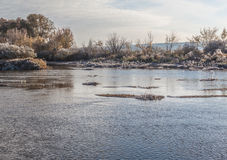 Frosty sunrise on the river Teterev Royalty Free Stock Images