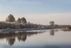 Frosty sunrise on the river Teterev Stock Photography