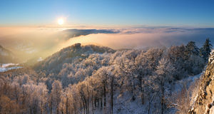 A frosty sunset panorama in beauty mountain Stock Images