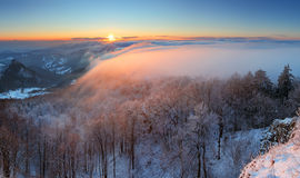 A frosty sunset panorama in beauty mountain Royalty Free Stock Photography