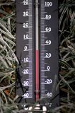 Frosty temperatures thermometers below zero royalty free stock images