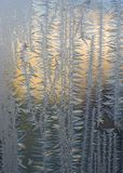 Frosty tracery. On the pane stock photos