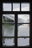 Frosty window. From the inside looking out Stock Photos