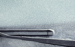 Frosty windscreen and wipers Stock Photo