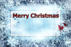 Christmas greeting card with the words Merry Christmas in polka dot letters, red and white. royalty free stock image