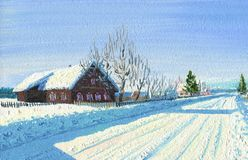 Frosty Winter Day dans le village Hutte ensoleillée illustration libre de droits