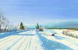 Frosty Winter Day en el pueblo El camino ilustración del vector