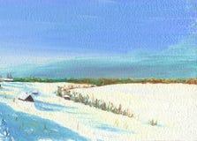Frosty Winter Day en el pueblo Lago congelado ilustración del vector