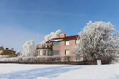 Frosty winter day in Luleå Stock Photos