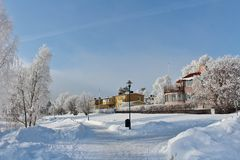 Frosty winter day in Luleå Stock Photography