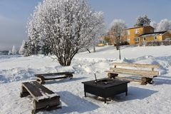 Frosty winter day in Luleå Royalty Free Stock Photography