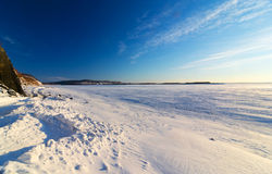 Frosty winter day on the river Amur. Royalty Free Stock Image