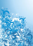Frosty winter illustration. In blue palette Stock Image