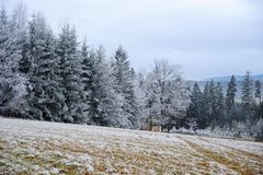 Frosty winter landscape Stock Photos