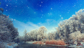 Frosty winter morning on the river. Majestik winter scene. fascinating scenery. frosty winter morning on the river. tree covered with frost. beautiful background Stock Photo