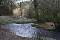 Frosty Winter Morning on River Tone. Washbattle Bridge, Wiveliscombe, Somerset Stock Photography