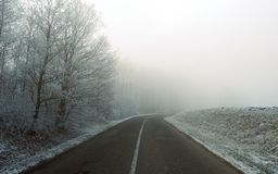Frosty winter morning road in Hungary Royalty Free Stock Photo