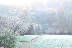 frosty winter morning scene in England Stock Photos