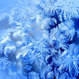 Frosty winter pattern. At a window glass, macro texture Royalty Free Stock Photo
