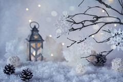 Frosty winter wonderland with snowfall and magic lights. Christmas greetings concept Royalty Free Stock Photo