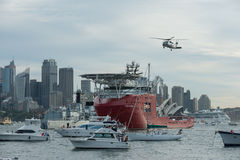 Frota da marinha no porto de Sydney. Foto de Stock