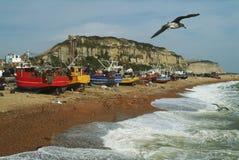 Frota pesqueira de Hastings Sussex do leste, Inglaterra fotografia de stock