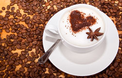 Frothed coffee with heart shape and star aneceed Stock Photo