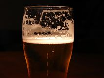 Frothy Beer. Toplit glass o frothy beer Stock Images