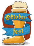 Frothy Beer Boot for Oktoberfest with Greeting Ribbon, Vector Illustration. Poster with frothy beer boot and a ribbon around it with Bavaria flag design to Royalty Free Stock Photos