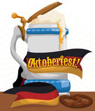 Frothy Beer in Elegant Stein for Oktoberfest Celebration, Vector Illustration. Poster with frothy beer in elegant porcelain stein with Germany flag like ribbon Royalty Free Stock Photography